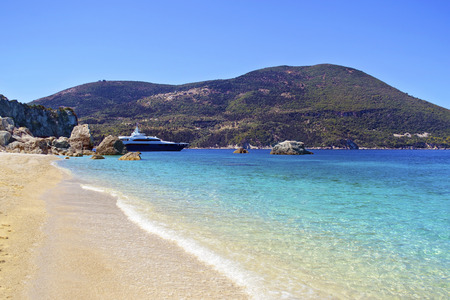 ionio: Afales Bay in Ithaca island Greece Stock Photo