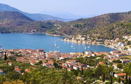 landscape of Vathy in Ithaca island Greece