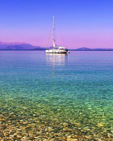 ionio: sailboat in the Ionian sea Greece Stock Photo
