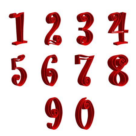 renders: 3D red numbers