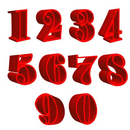 renders: 3D wooden red numbers
