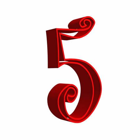 renders: 3D number five 5