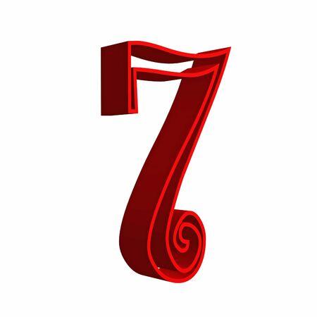 number seven: 3D number seven 7