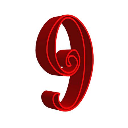number nine: 3D number nine 9