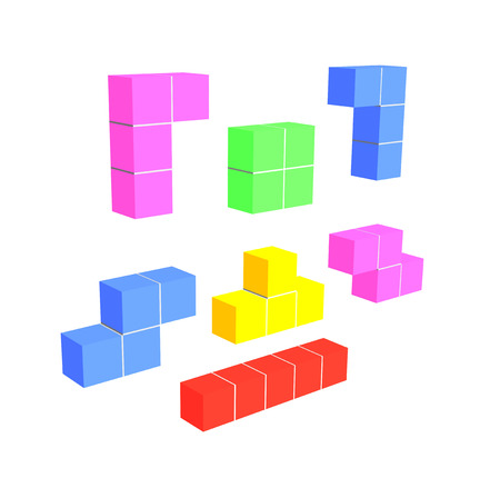 tetris game 3D cubes isolated on white Stock Photo