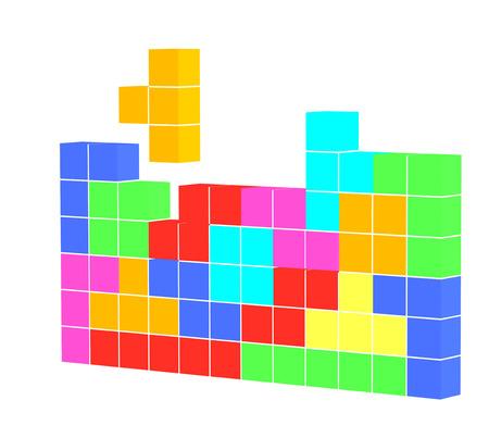 tetris: tetris game 3D cubes isolated on white Stock Photo