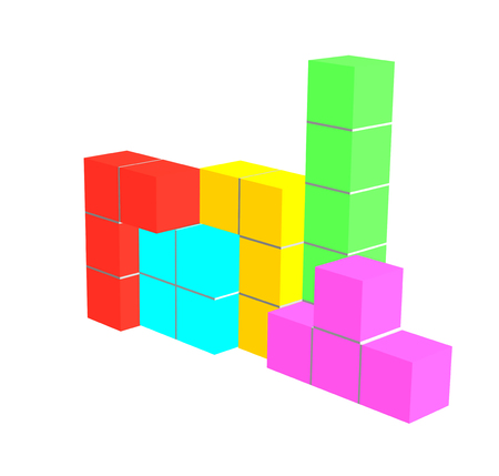tetris: tetris game 3D cubes isolated on white Stock Photo