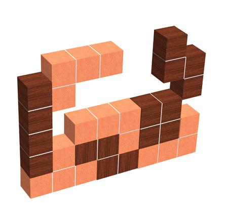 have fun: tetris game 3D wooden cubes