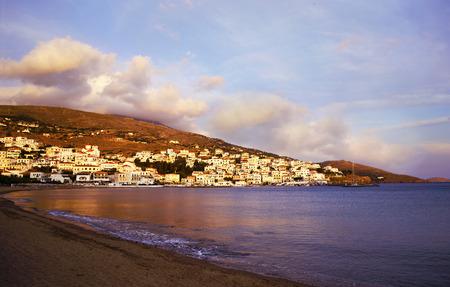 andros: evening in Batsi Andros island Greece