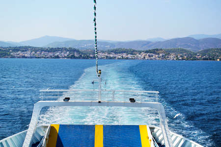 greywater of ferry boat in Greece Stock Photo
