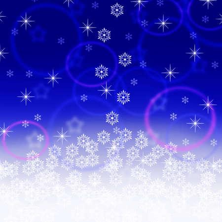 snowfall: christmas blue background with snowfall and stars