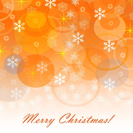 illustrates: merry christmas card with snow and stars Stock Photo
