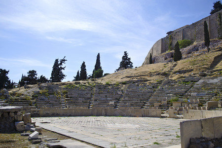 sightseeng: ancient theater of Dionysos in Athens Greece Stock Photo
