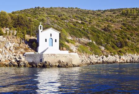 ionio: saint Andrew chapel in Ithaca island Greece Stock Photo