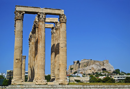 sightseeng: Acropolis view behind the temple of Olympian Zeus in Athens Greece