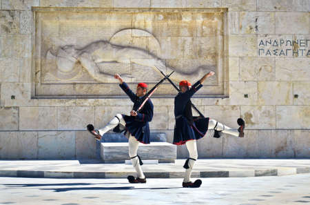 tsolias: ATHENS GREECE, JANUARY 23 2016: greek evzones, greek tsolias, guarding the presidential mansion in front of the tomb of the unknown soldier, army infantry. Editorial use. Editorial