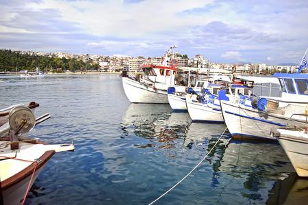 phenomenon: fishing boats at Chalcis Euboea Greece - crazy water phenomenon