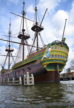 wooden boat: big wooden boat in Amsterdam Holland Stock Photo