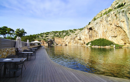unexplored: Vouliagmeni lake Attica Greece, known for its constant temperature at 24 degrees Celsius all the year.