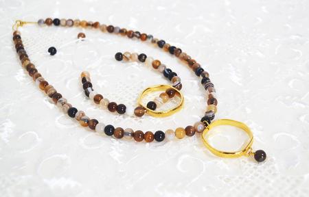 semi precious: gemstone necklace and bracelet set - brown agate semi precious stones jewelry
