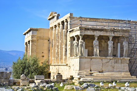 sightseeng: Erechtheion temple in Acropolis Athens Greece Stock Photo