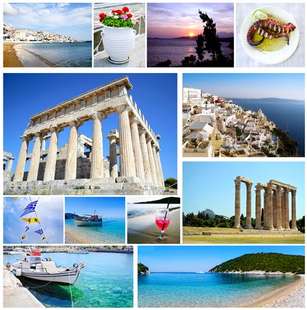ionian island: collage Greece - greek ancient - Aegean island - Ionian islands - greek food - greek summer collection