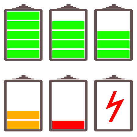 discharge: battery charge levels illustration with white background