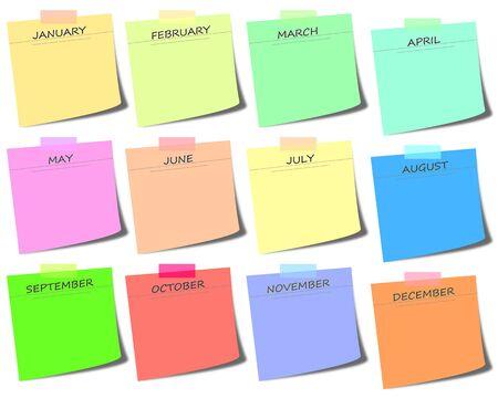 kleurrijke sticky notes met maanden - kalender pictogram