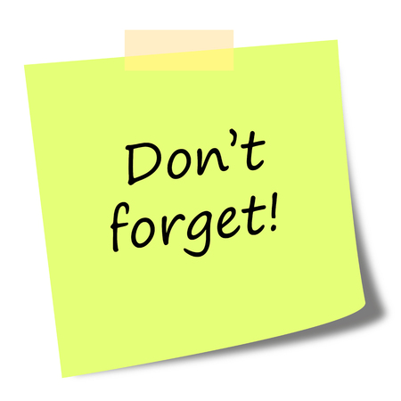 comunication: dont forget text on sticky note - business comunication concept