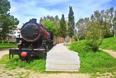 messinia: municipal railway park of Kalamata Messinia Greece - open air museum with old withdrawn trains