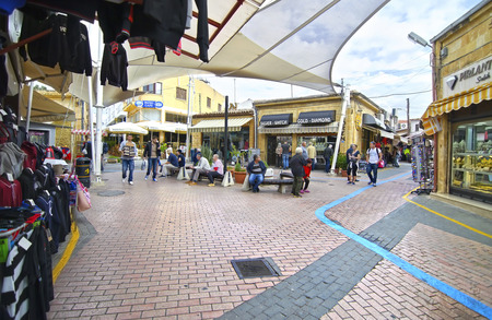 occupied: NORTHERN OCCUPIED CYPRUS, NOVEMBER 25 2015: touristic shops in Northern occupied Cyprus. Editorial use.