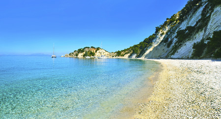 panoramic photo of Gidaki beach Ithaca Greece
