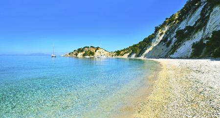 ionio: panoramic photo of Gidaki beach Ithaca Greece