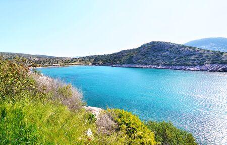 Loubarda beach near to holes of Karamanlis tunnel Varkiza Greece