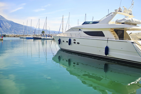 kalamata: boats reflected on sea at Kalamata harbor Peloponnese Greece Stock Photo