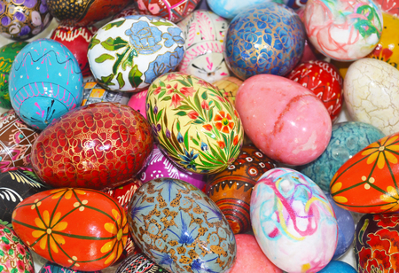 pascha: decorative colorful Easter eggs - Easter home decor concept