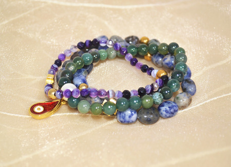sodalite: gemstone bracelets - amethyst lapis lazuli and agate semi precious stones jewelry Stock Photo
