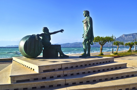 alexander the great: statues of Alexander the Great and the greek filosopher Diogenes at Corinth Greece