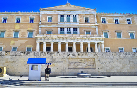 tsolias: ATHENS GREECE, MAY 27 2016: greek evzones - greek tsolias - guarding the presidential mansion in front of the tomb of the unknown soldier - army infantry. Editorial use. Editorial