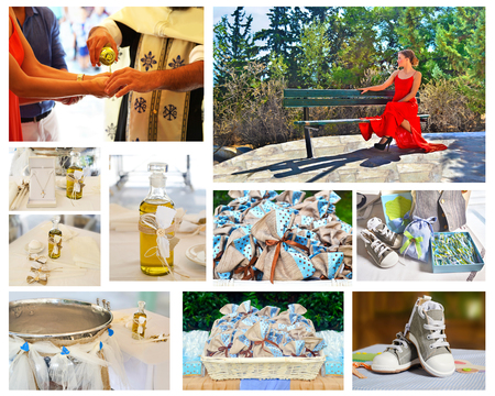 favors: Orthodox christening collage - candles and favors - baptism oil and clothes - godmother