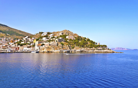 the gulf: landscape of Hydra island Saronic Gulf Greece Stock Photo