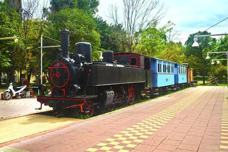 municipal editorial: KALAMATA PELOPONNESE GREECE, APRIL 04 2016: municipal railway park of Kalamata Messinia Greece. Editorial use.