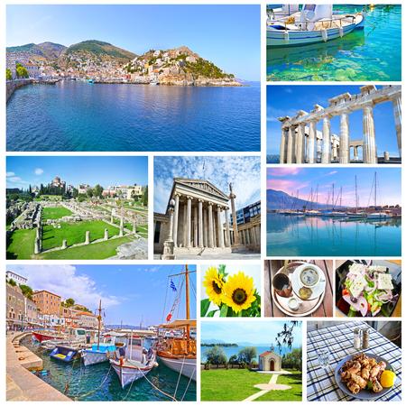 collage of Greece - greek food - ancient landmarks - island sea Stock Photo