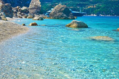 ionio: turquoise transparent water of Ithaca Ionian islands Greece Stock Photo
