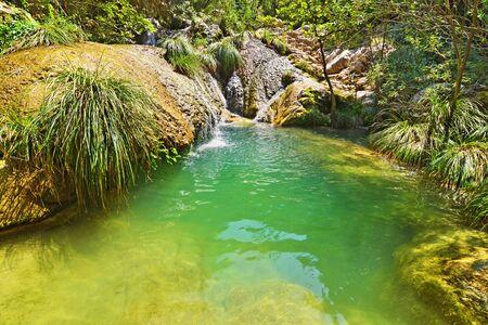 unspoilt: Polilimnio waterfalls at Messinia Peloponnese Greece