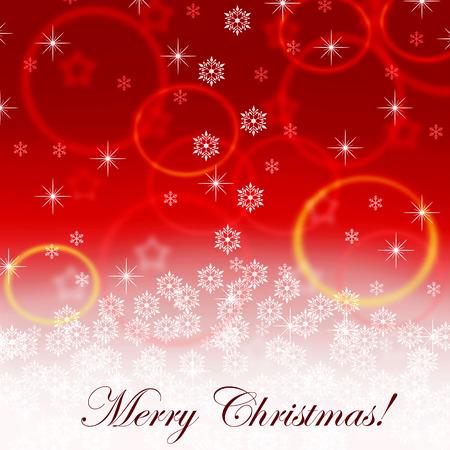 snowfall: merry christmas red postcard with snowfall and stars Stock Photo