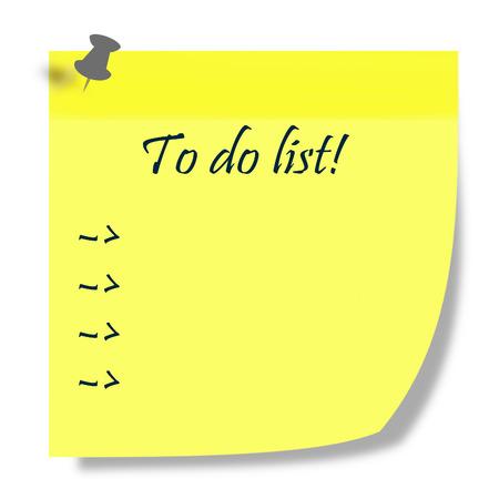 duties: to do list written on yellow post it illustration - duties list concept Stock Photo