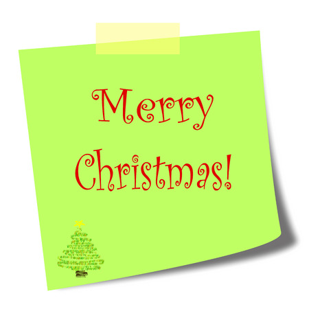 comunication: merry christmas green post it note on white background