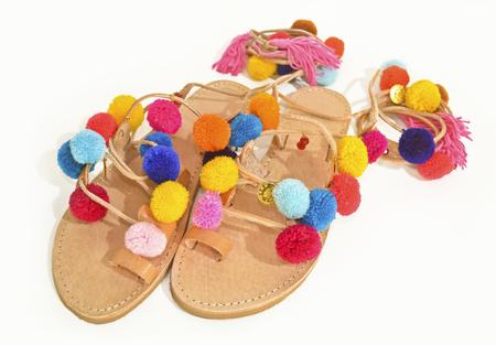 pom: stylish greek leather sandals with pom pom - fashion shoes advertisement