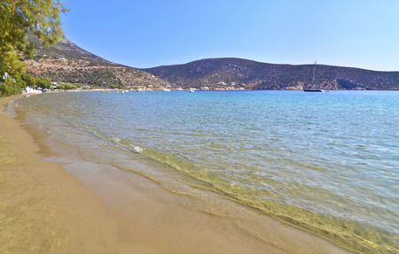 cyclades: Vathi beach at Sifnos island Cyclades Greece Stock Photo